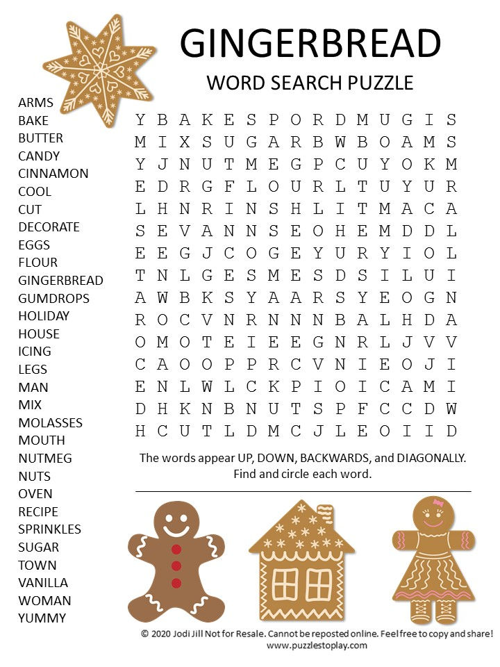 Gingerbread Word Search Puzzle
