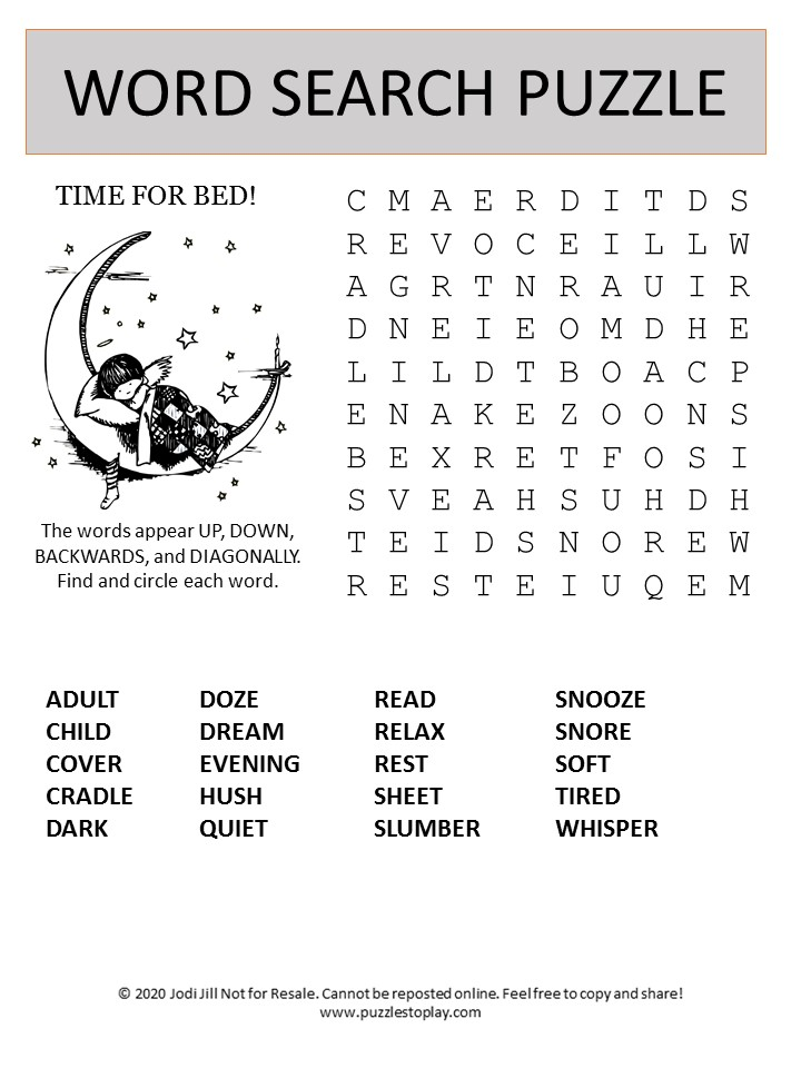 Time for Bed word search puzzle