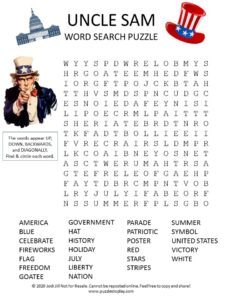 Uncle Sam Word Search Puzzle