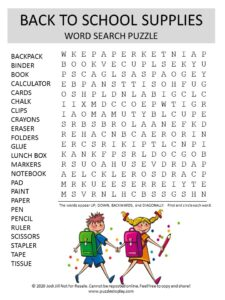 back to school supplies word search puzzle