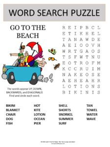 beach word search puzzle