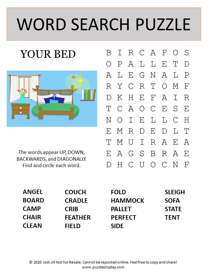 bed word search puzzle