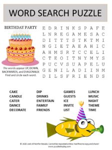 birthday party word search puzzle
