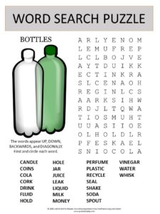 bottles word search puzzle