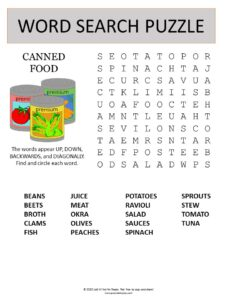 canned food word search puzzle