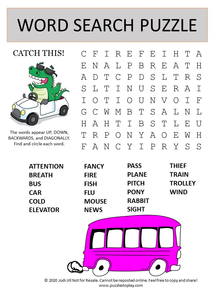 catch this word search puzzle