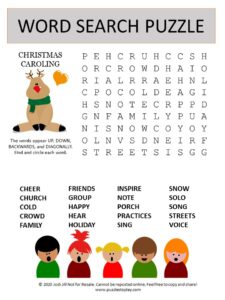 christmas carol word search puzzle