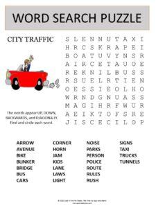 city traffic word search puzzle