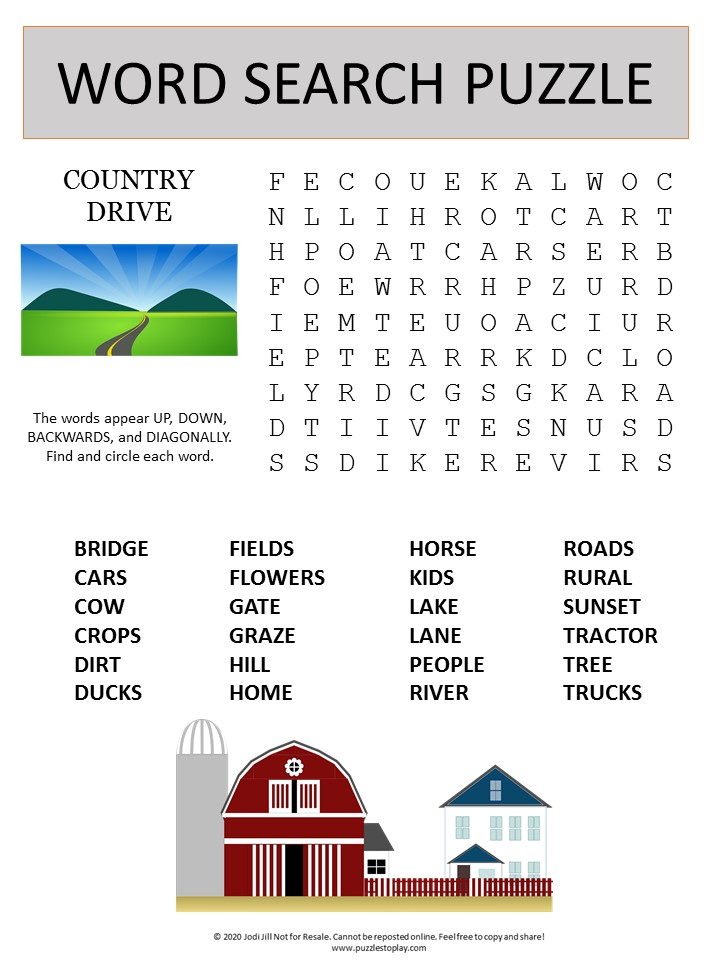 country drive word search puzzle