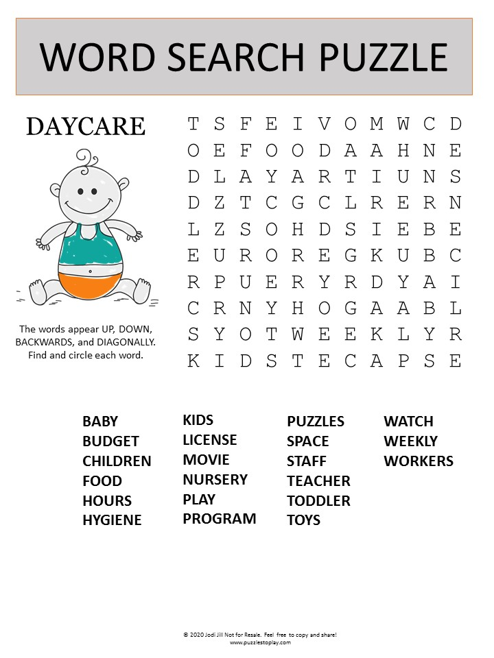 Daycare word search puzzle