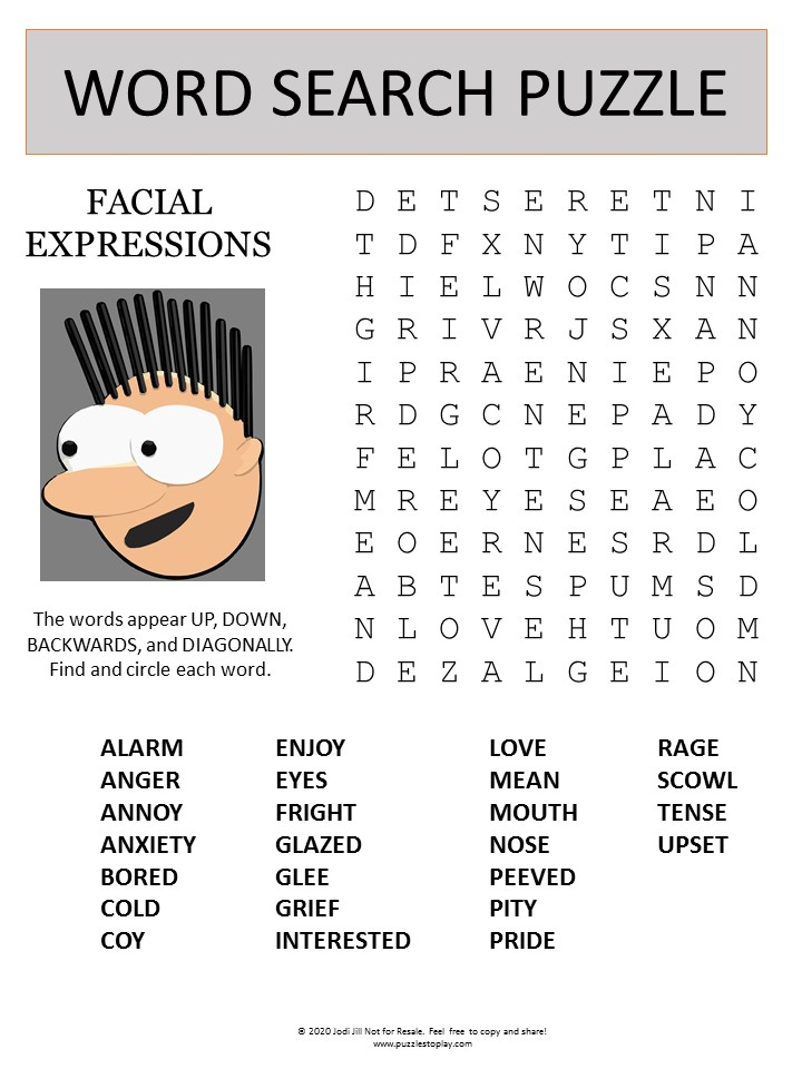 facial expressions word search puzzle photo