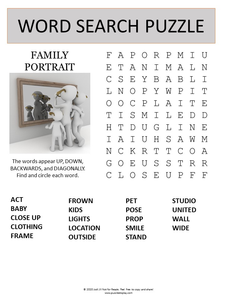 family portrait word search puzzle