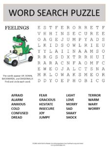 feelings word search puzzle