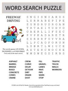 freeway word search puzzle