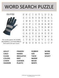 gloves word search puzzle