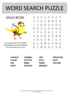 gold rush word search puzzle