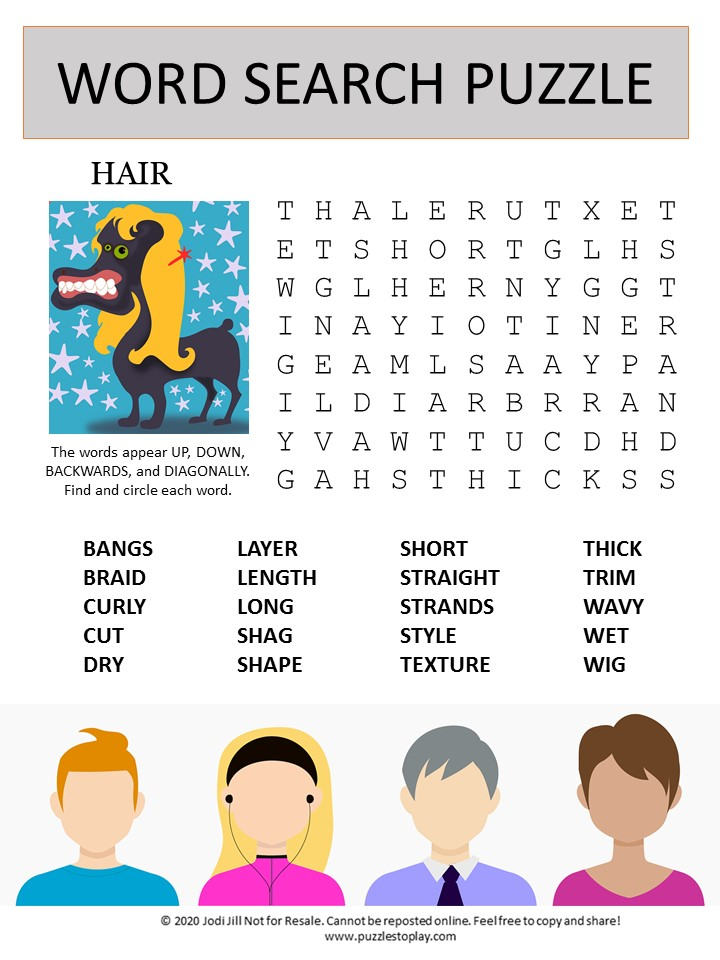 hair word search puzzle