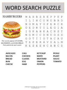 hamburgers word search puzzle