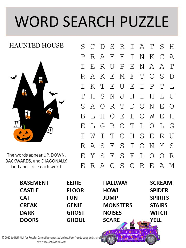 haunted house word search puzzle