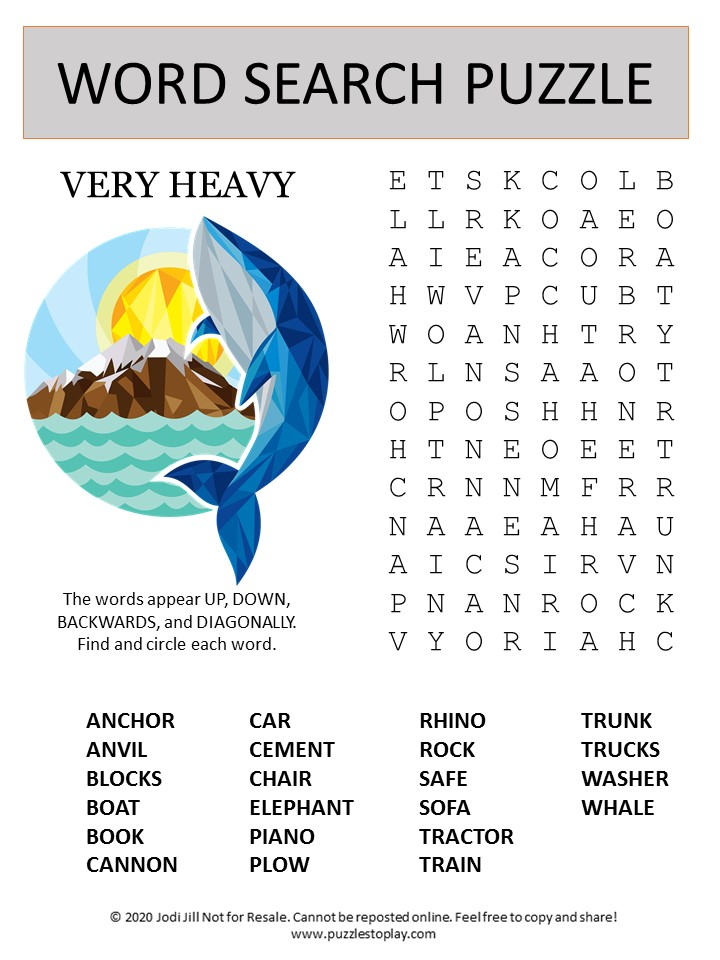 heavy word search puzzle