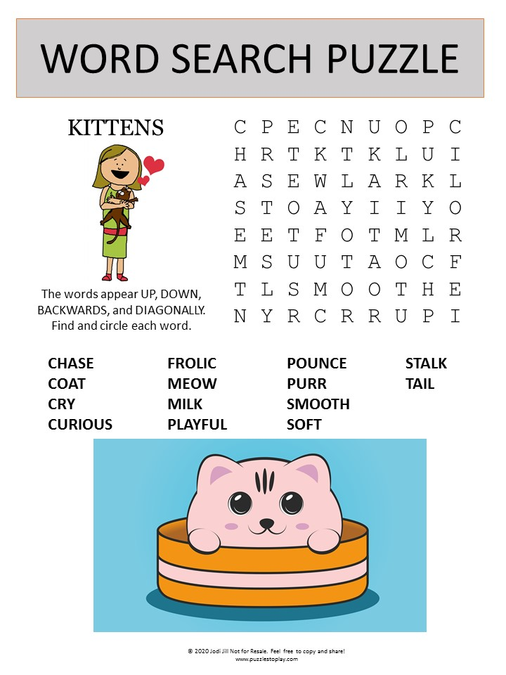 kitten word search puzzle