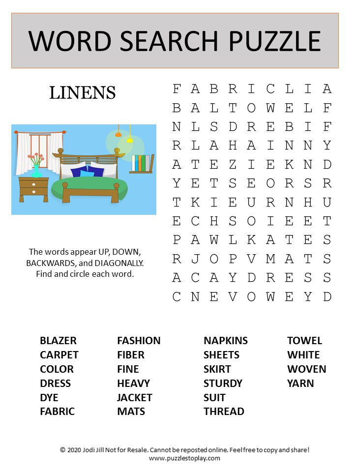 linens word search puzzle
