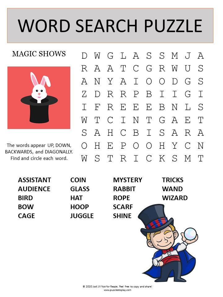 magic show word search puzzle
