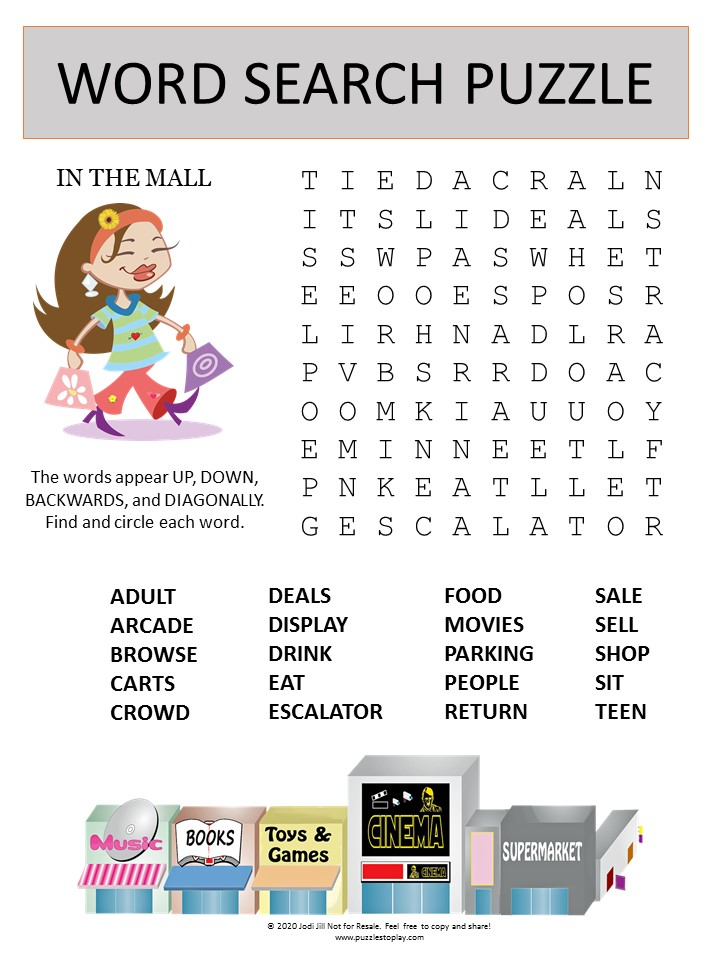 mall word search puzzle