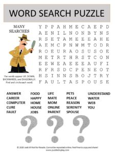 many searches word search puzzle
