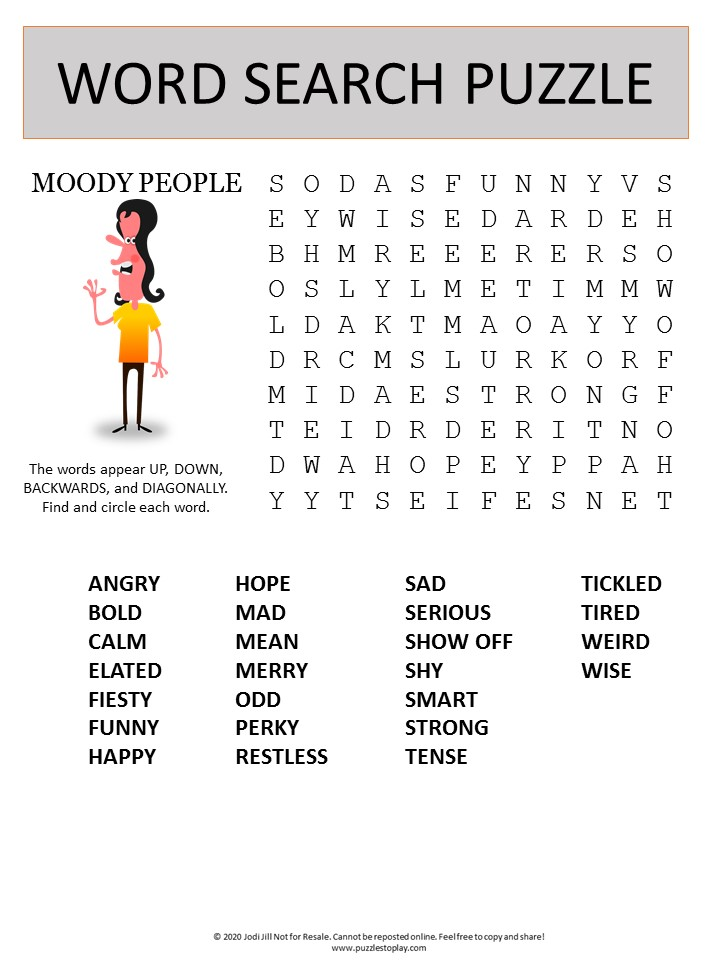moods word search puzzle