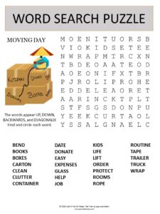 moving day word search puzzle