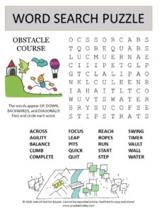 obstacle course word search puzzle