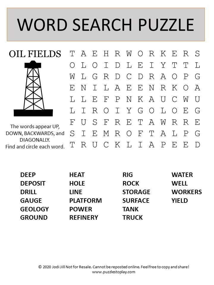 oil fields word search puzzle