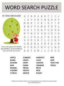 orchard word search puzzle