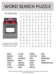 oven word search puzzle