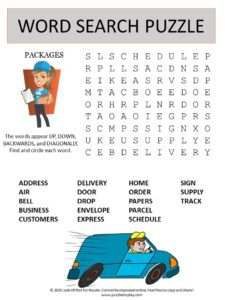 package delivery word search puzzle