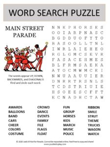 parade word search puzzle