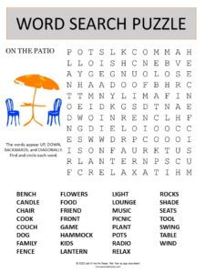 patio word search puzzle