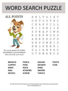 point word search puzzle