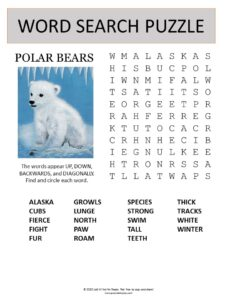 polar bears word search puzzle