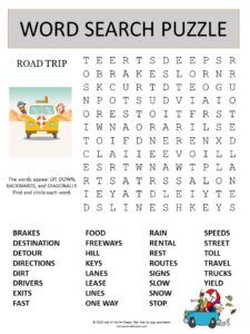 road trip word search puzzle