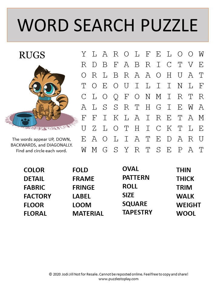 rugs word search puzzle