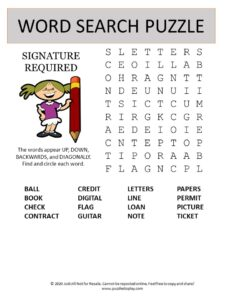 signature word search puzzle