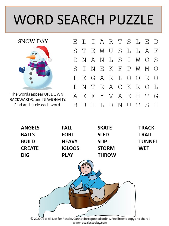 snow day word search puzzle