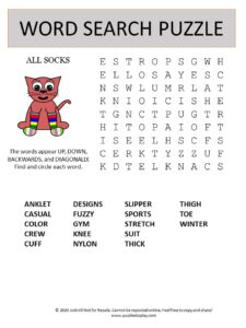 socks word search puzzle