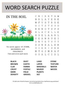 soil word search puzzle