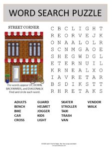 street corner word search puzzle