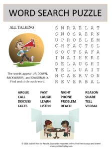 talk word search puzzle