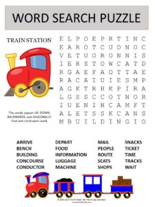 train station word search puzzle