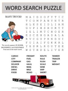 truck word search puzzle